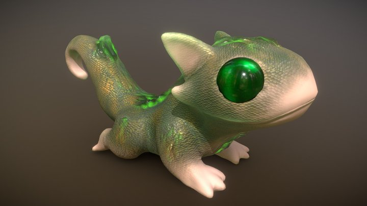 Emerald Lizard Kid 3D Model