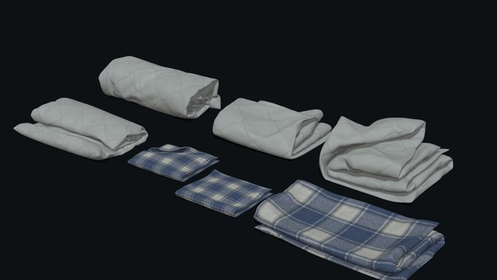 Towels and Blankets (Subdiv-ready) 3D Model