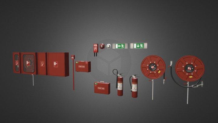 Fire Extinguisher Pack 3D Model