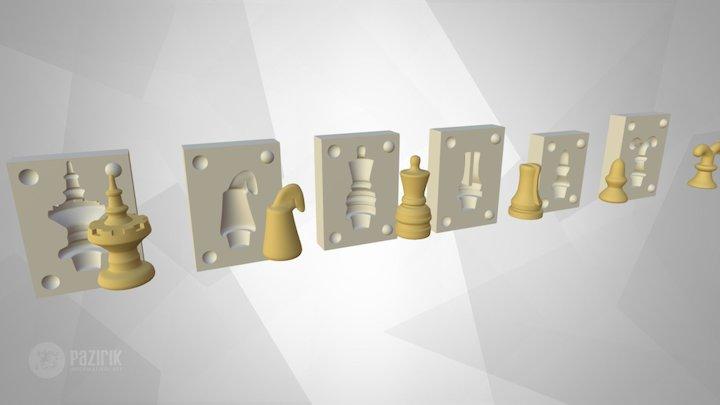 Középkori sakkfigura készlet marcipán nyomáshoz. 3D Model