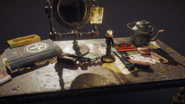 Antique Desk Scene 3D Model