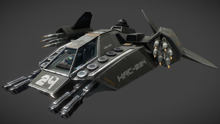 HAC - Heavy Assault Craft Fighter and cockpit 3D Model