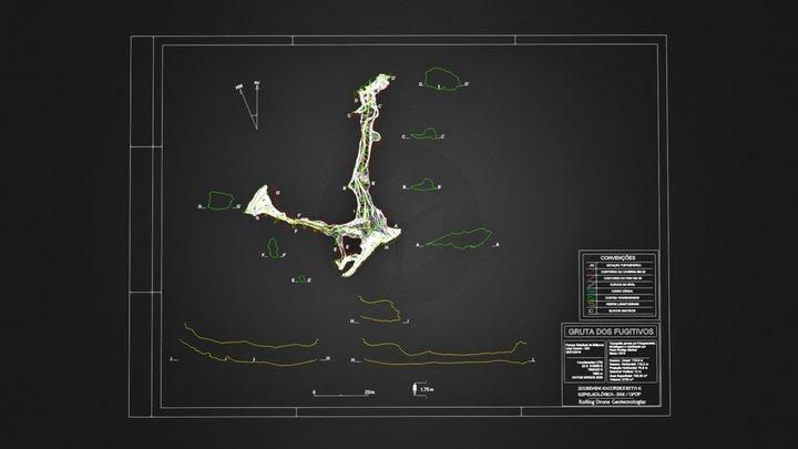 Mapa espeleológico parcial da Gruta Fugitivos 3D Model