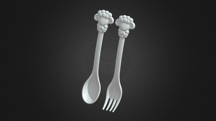 CF-K34 溫暖綿羊 Sheep_Spoon+ Fork 3D Model