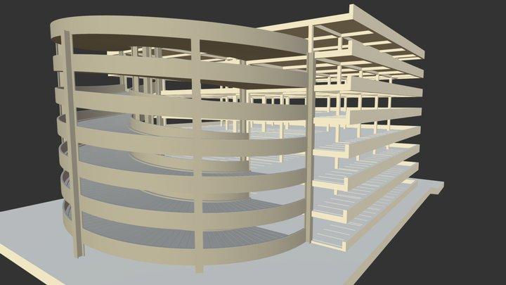Rampa Curva de estacionamientos con detalles 3D Model