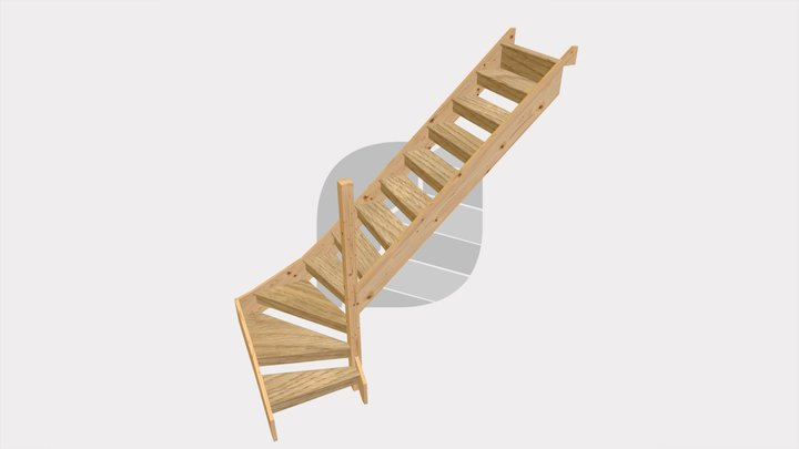 Open Construction Staircase with turn 3D Model