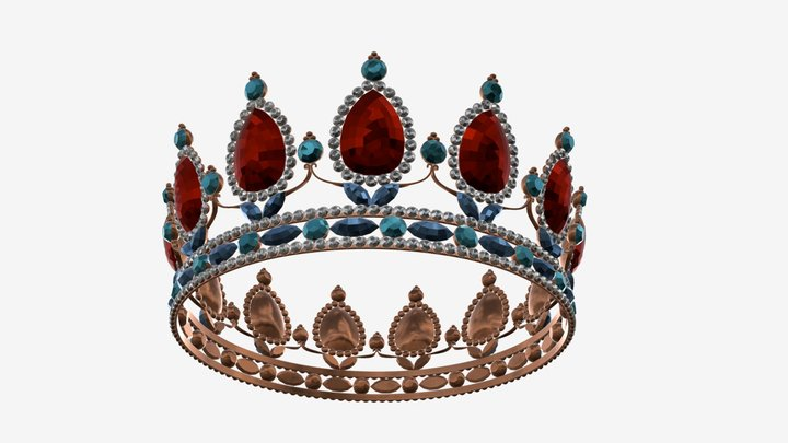 queen crown with jewels 3D Model