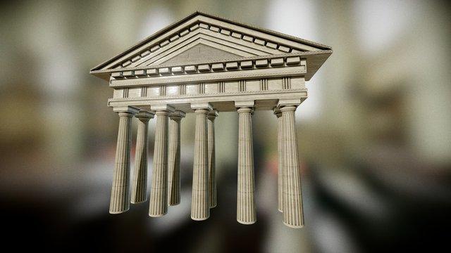 Greek Facade Temple Entrance 3D Model