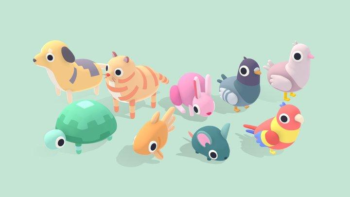 Pet Animals - Quirky Series 3D Model