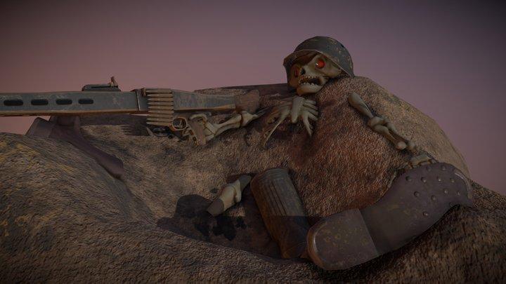 Undead Machine Gunner 3D Model