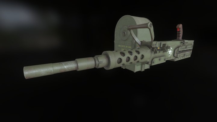 The Tombstone - Animated Machinegun Model 3D Model