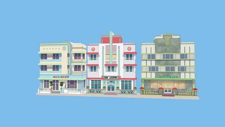 Miami Art Deco Hotels 3D Model