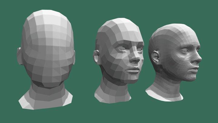 Low Poly Female Head 3D Model