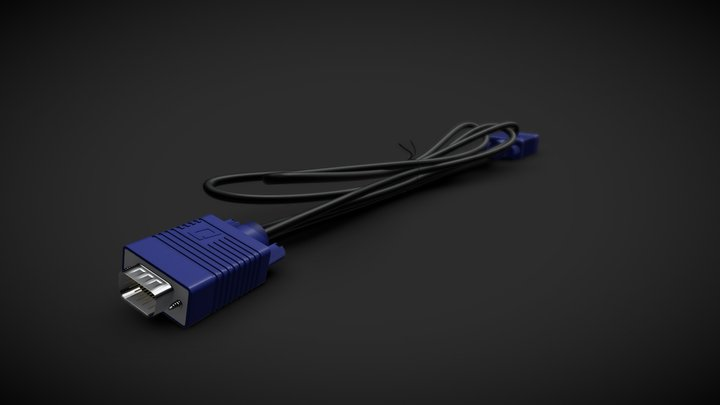 VGA Cable Plug 3D Model
