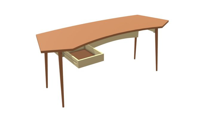 Curved Cherry Writing Desk 3D Model