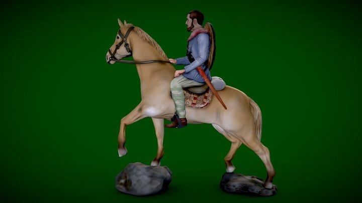 Warrior on horseback -  free - 3d-printable 3D Model