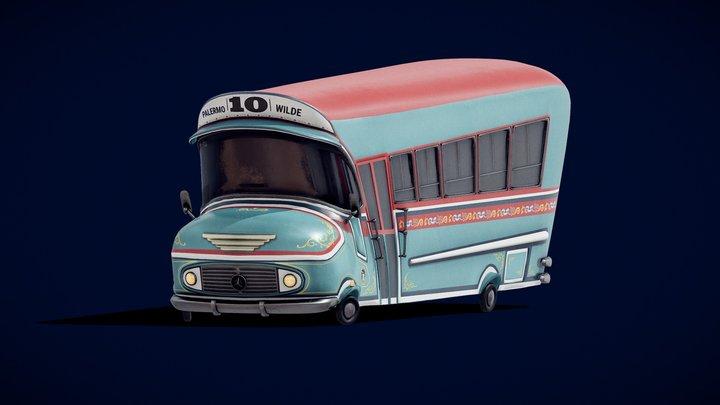Colectivo 10 Toon (Argentine Bus) 3D Model