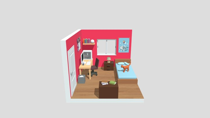 Low Poly Room 3D Model