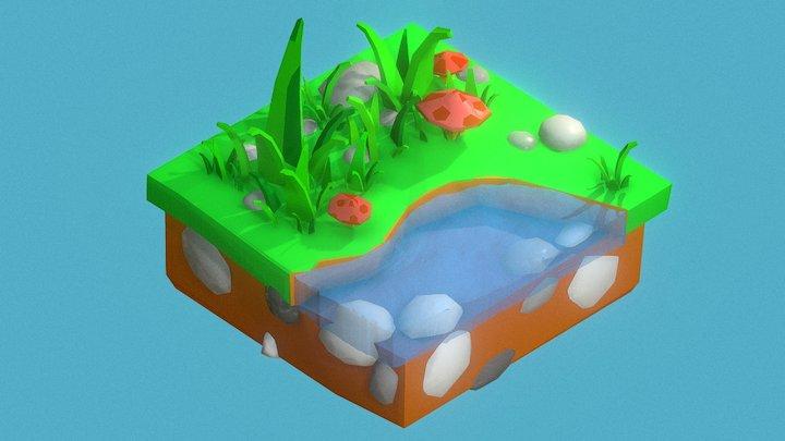 Isometric Game Tile 3D Model