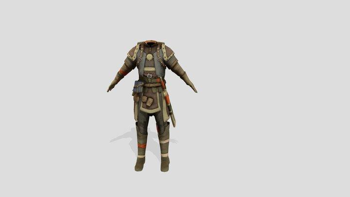 Medieval Human Ranger Warior Explorer Outfit 3D Model