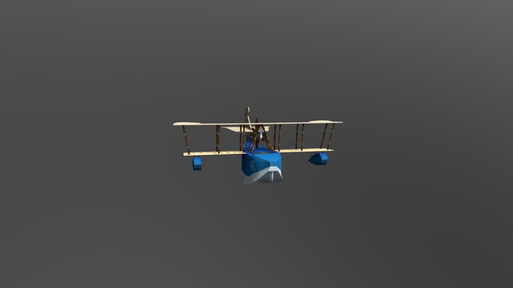 Flying circus hand painted plane 3D Model