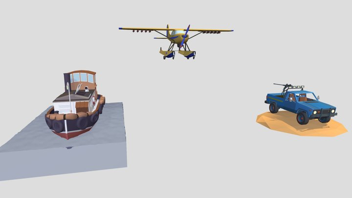 3items Middle Detailed 3D Model