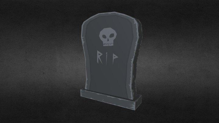 Low-Poly Tombstone (Spooky Model Series, 3/6) 3D Model