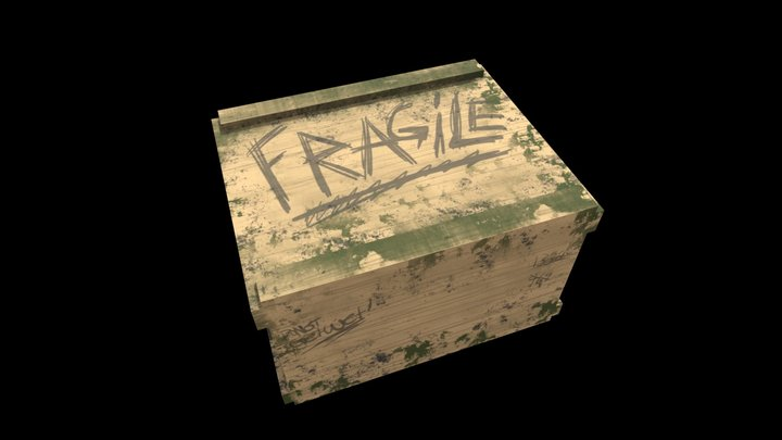 Silly Cartoon Crate 3D Model