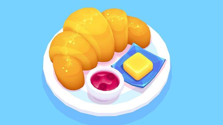 Croissant with Butter & Jam 3D Model