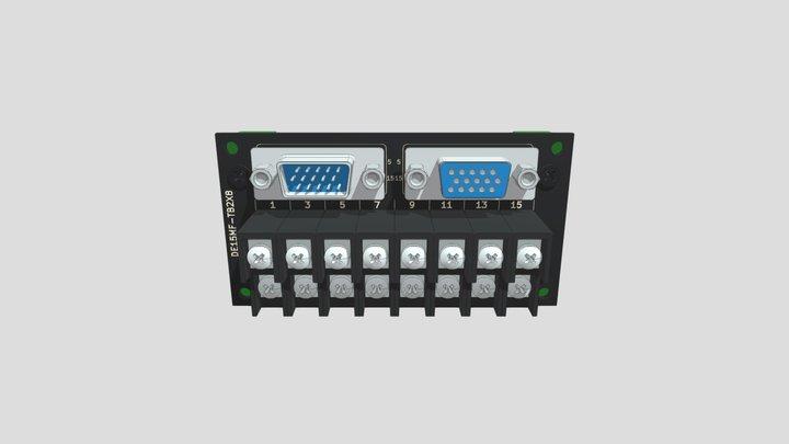 コネクタ端子台変換ユニット(3列D-sub15オス/メス⇔端子台):DINレール取付け 3D Model