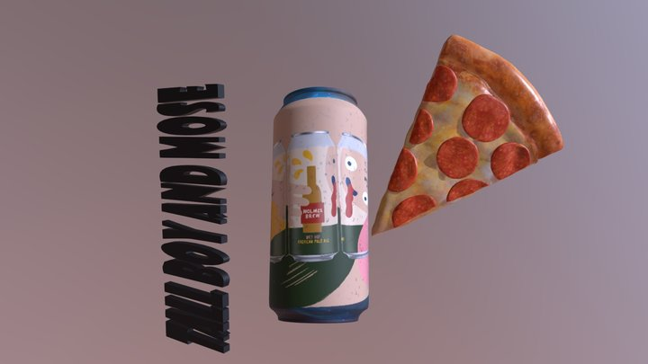 PIZZA BEER 3D Model