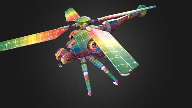 DragonFly Chopper Test animation 3D Model