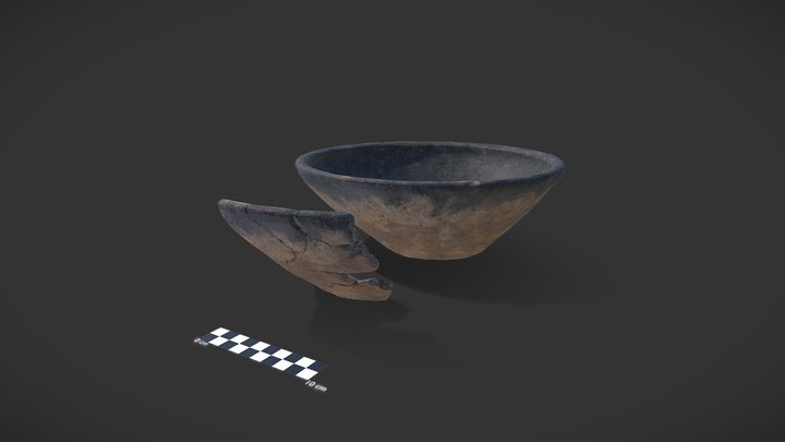 Piece of Early Iron Age bowl + 3d reconstruction 3D Model
