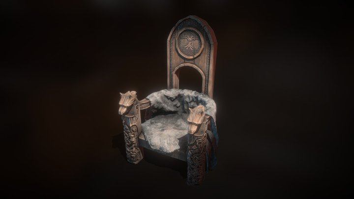Medieval King's Throne 3D Model