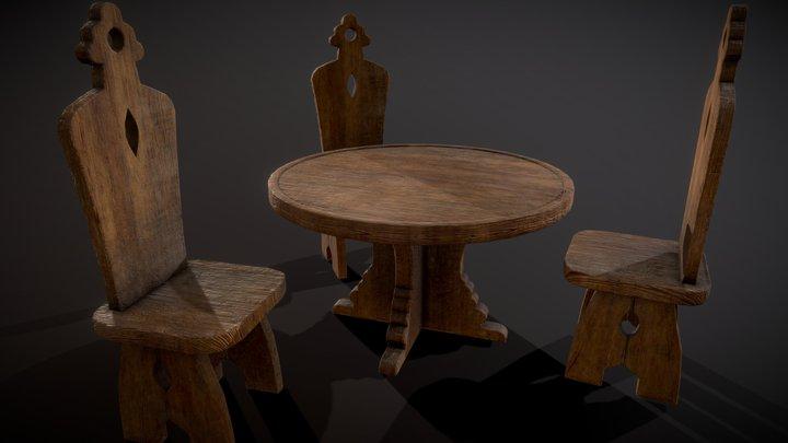 Wooden Forniture 3D Model