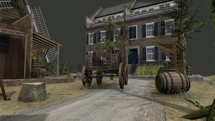 Alexandria- The walking dead_CityScene 3D Model