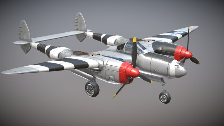 WW2 US Heavy Fighter Aircraft P-38 Lightning 3D Model