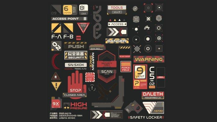 Sci-fi Tech Decals Super Pack of 70 3D Model