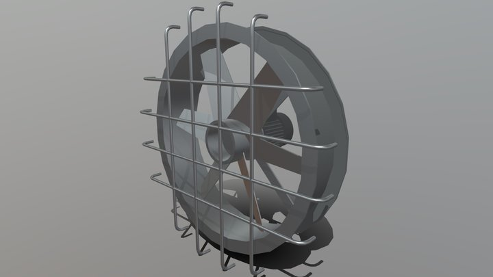 Low poly exhaust fan with motor 3D Model
