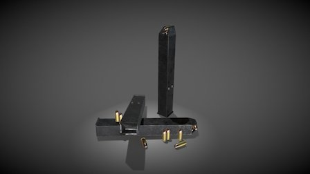 Magazines and 9mm bullets 3D Model