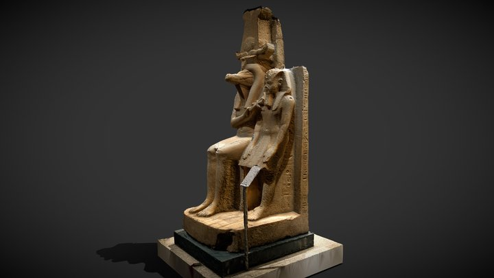 Amenhotep iii with egyptian god sobek alabaster 3D Model