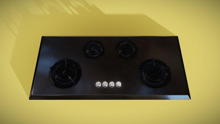 Wide Black Enamel Gas Cooktop 3D Model
