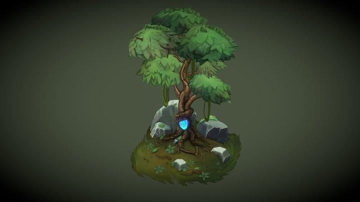 Crystal Embeded Tree 3D Model