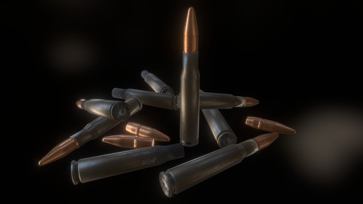.50 Cal Bmg Cartridges 3D Model