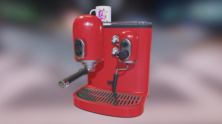 Red Espresso Machine 3D Model