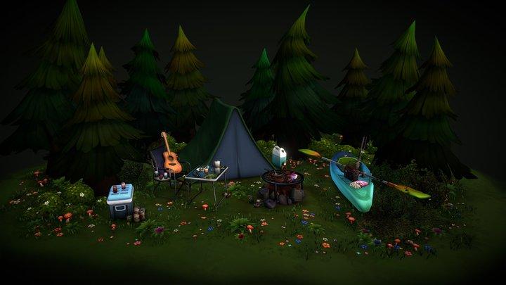 Woodlands Camping Scene 3D Model