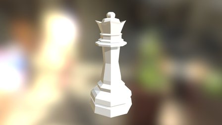 Low Poly Queen Chess Piece 3D Model