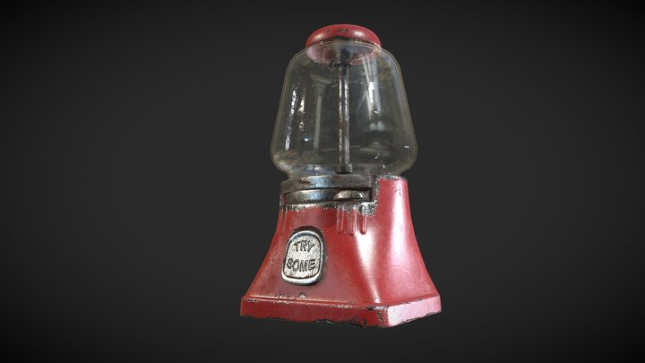 """Vintage Gumball Machine """"Silver King"""" 3D Model"""