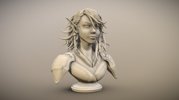 Elf Bust collab with Bespoke Character Creations 3D Model
