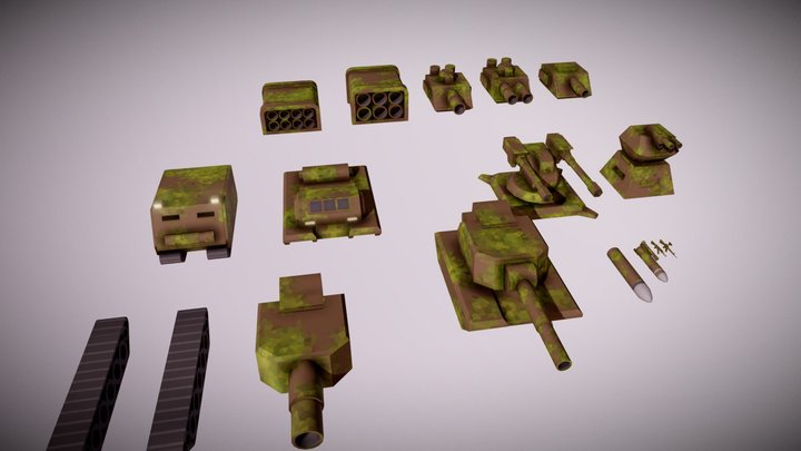 Military Tank And Weapons 3D Model